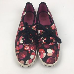 Kate Spade Keds Floral Purple Lace Up Sneakers 8